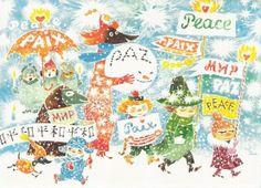 Moomin Peace Unicef Small Tray Show your love for the Moomins and support a great cause at the same time. The result of a partnership between Moomin and Unicef, part of the proceeds from this tray are donated to promoting the educat. Moomin Wallpaper, Wallpaper Pc, Photography Illustration, Illustration Art, Art Illustrations, International Day Of Peace, Holiday Messages, Holiday Images, Tove Jansson