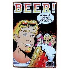 Vintage Metal Sign 'Beverage Theme' Pub Art Wall Decor