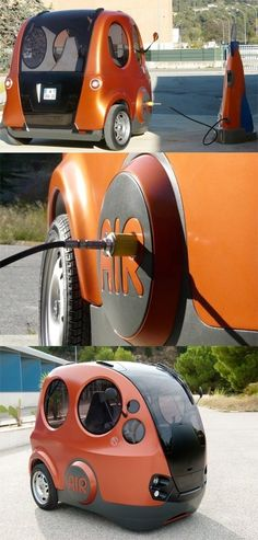 ) Mini air-powered prototype car (airpot) developed by India company Tata. Isn't it too adorable? but practical? Read more on: theverge