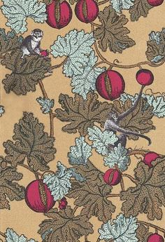 Frutto Proibito (77/12044) - Cole & Son Wallpapers - A witty riotous mix of pink pomegranates with brown and blue-grey leafed vines through which mischievous black and white etched monkeys cavort on a metallic gold background. Please ask for sample for colour match.