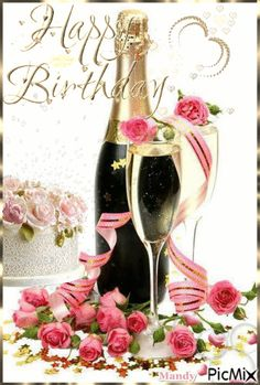 Happy Birthday Drinks, Happy Birthday Flowers Wishes, Happy Birthday Greetings Friends, Happy Birthday Celebration, Happy Birthday Wishes Cards, Happy Birthday Candles, 40th Birthday, Birthday Cards Images, Birthday Wishes And Images