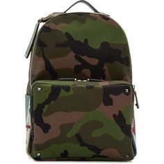 fb2c90671de0c Valentino Green Canvas Beaded Camouflage Backpack (414205 RSD) ❤ liked on  Polyvore featuring men's