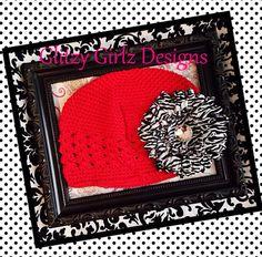 Stylish diva spring red crochet beanie and zebra flower clip/ hat girls/teen/tweens beanie hat/photo op on Etsy, $12.99