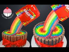 Skittles Cake Collab with Cookies Cupcakes and Cardio! - A combined effort for this show stopper Cake! A Cupcake Addiction How To Tutorial Collab. This tutorial and more available for FREE on our YouTube channel MyCupcakeAddiction