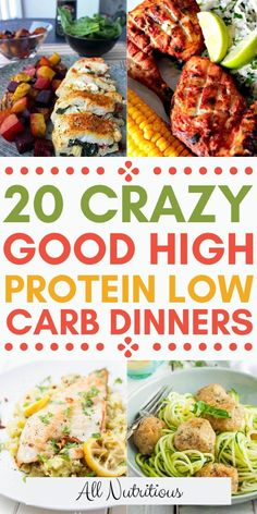 20 High Protein Low Carb Dinner Ideas - - Try these high protein low carb meals and enjoy eating a low carb diet a little bit more. These high protein dinners are also low carb dishes thus great for both diets, check out these healthy recipes. High Protein Snacks, Low Carb High Protein, High Protein Dinner, Protein Dinners, Low Carb Diets, Protein Lunch, Low Calorie Diet, Protein Foods, Healthy Low Carb Recipes