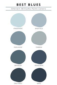 Best Blue Paint Colors, Blue Green Paints, Paint Colors For Home, Pastel Paint Colors, Office Paint Colors, Dark Blue Paints, Different Blue Colors, Blue Wall Colors, Trending Paint Colors
