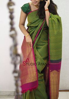 Discover thousands of images about Amazing Green Colored Designer Soft Silk Party Wear Saree Satin Saree, Wedding Silk Saree, Cotton Saree, Indian Silk Sarees, Soft Silk Sarees, Blue Silk Saree, Ethnic Sarees, Saree Color Combinations, Silk Saree Kanchipuram