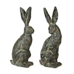 Springtime Garden Weathered Chiseled Easter Bunny Rabbit Statues