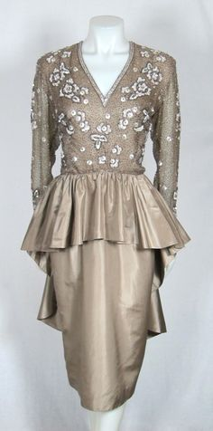 VINTAGE BEADED TAUPE SILK PEPLUM BUSTLE PARTY DRESS - early 1960's