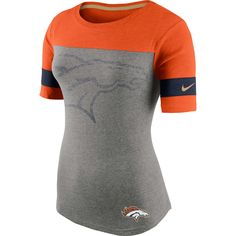 Denver Broncos Nike Women s Championship Drive Gold Collectionan T-Shirt -  Gray ad66b6c6298