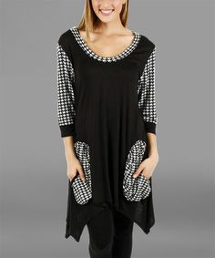 f6953e5d39c Black & White Houndstooth Sidetail Tunic Maxi Skirt Tutorial, Houndstooth,  Cool Outfits, Black