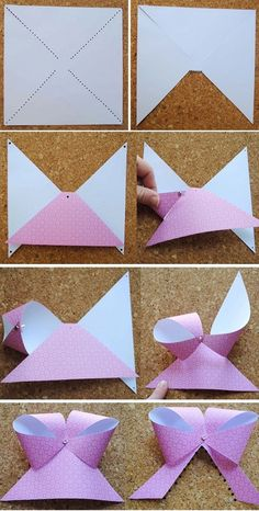 Paper Bows effective and much easier than the origami bow folding! Origami Paper, Diy Paper, Paper Crafting, Paper Art, Paper Bows, Paper Ribbon, Origami Bow, Gift Ribbon, Oragami