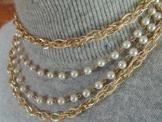 ELOXAL CHOKER.  Eloxal NECKLACE. Choker Necklace. 1950s. 1960s. multistrand Necklace. Gold Tone. Textured Chains. Faux Pearls. lovely clasp by OurVintageWay on Etsy