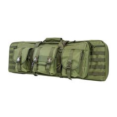 "Vism By Ncstar Double Carbine Case/Green/36 In - Double carbine case allows 2 carbines to be transported with a center divider to prevent weapons from contacting each other. Additional storage pouches to store mags or other items. Extra Molle for additional pouches or gear.Features:36"" Double Carbine Case is constructed of heavy duty PVC material, and protects up to 2 carbine sized rifles.The primary compartment will accommodate 2 rifles 35 inches in overall length with a thick padded center…"