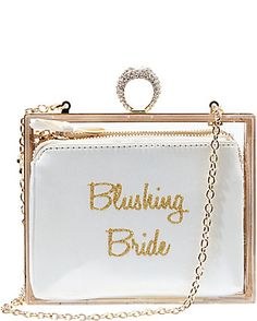 BETSEY BLUE BLUSHING BRIDE ACRYLIC CLUTCH