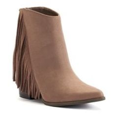 Taupe suede fringe boots New in box! Please use offer button for all negotiations 😊🌺 Candie's Shoes Ankle Boots & Booties