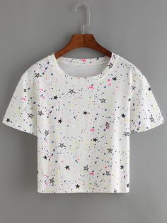 Stars Print White T-shirt Cute Comfy Outfits, Cute Girl Outfits, Pretty Outfits, Stylish Outfits, Cool Outfits, Girls Fashion Clothes, Teen Fashion Outfits, Fashion Kids, Outfits For Teens