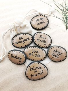 Pocket Rocks with Words of Encouragement, Painted Stones for Military, Affirmation Stones for Men, Set of 7 Pocket Rocks for Children Stone Art Stone Crafts, Rock Crafts, Crafts To Make, Arts And Crafts, Pebble Painting, Pebble Art, Stone Painting, Painting Art, Rock Painting Ideas Easy