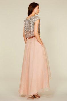 sequin bridesmaid dresses, 2 piece bridesmaid dresses, organza bridesmaid dresses, blush pink bridesmaid dresses,strapless bridesmaid dresses,BD360001
