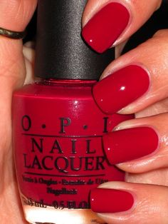 Red nail polish/lacquer is a standard.  My favorite nail polish brand is OPI.  I have used it for about 9 years.