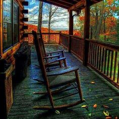 Autumn - chairs on the porch. Love it!