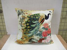 Decorative Velvet Peacock Flower Pillowcase Peacock Cushion Cover Floral Animal Pillow