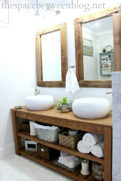 I like this - except the sinks.  This would be easy to build to totally give a new look to our space.  Love the mirrors, too.  Do I want one huge mirror or two smaller???  DEFINITELY need baskets/bins to put things in - losing the medicine cabinets.