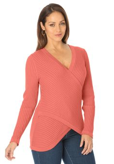 Crisscross-front ladies knit sweater with refined diagonal lines. #musthave #plussize #fashion