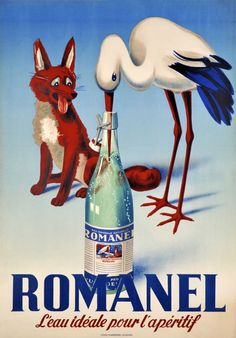 Romanel, l'eau idéale pour l'apéritif A charming original poster showing the fable of the fox and the stork to sell a Swiss mineral water.