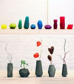 FACETED candle and concrete vase templates