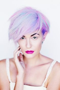 pastel bob with bright lips #beauty #hair #trend