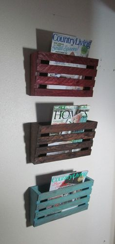 Magazine Cubby Wall Holder      Hand Crafted Rustic Vintage Inspired Wood Wall Holder    Great for the office or great for holding patterns when organizing your craft room .    Made from real Pine & Cedar wood.    6 stain colors available to give the vintage look.