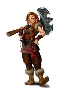 Female Dwarf Barbarian - Pathfinder PFRPG DND D&D d20 fantasy