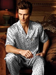 Printed Silk Pajamas for Men MS28 69baa1455
