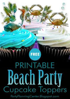 FREE Printable Beach Cupcake Toppers in Four Designs | These FREE under-the-sea theme beach party decorations feature seaweed, a crab, a seahorse and a seashell.  #BeachThemeCupcakes #BeachParty #BeachPartyDecorations #CupcakeIdeas #CupcakeToppers #CupcakeDecorations #FreePrintables #CarlaChadwick Beach Theme Cupcakes, Themed Cupcakes, Fun Cupcakes, Cupcake Party, Printable Activities For Kids, Party Printables, Free Printables, Fun Party Themes, Beach Themes