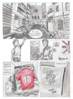 Tavola a fumetti con china diluita e ecoline