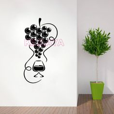 Aliexpress.com : Buy Stickers Cuisine Grapes and Glass of Wine Vinyl Wall Decals Wallpaper for Kitchen Fridge Wall Sticker Art Home Decor Decoration from Reliable glass louver suppliers on Kililaya