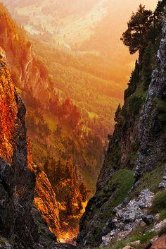 Orange Sunset Reflecting Off Mountain