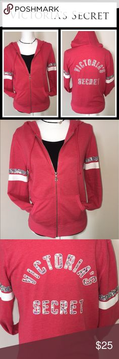 Victoria's Secret Pink sequin hoodie GUC, pretty sure this is a really old sweatshirt but there's really no flaws except for it has been worn so some signs of wear - super comfortable and cozy hoodie with sequin accents on arms and back - size XS but runs big PINK Victoria's Secret Tops Sweatshirts & Hoodies