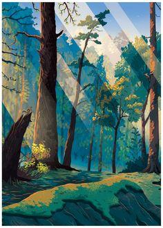 AirBnB Magazine on Behance Landscape Concept, Fantasy Landscape, Landscape Art, Fantasy Art, Forest Illustration, Landscape Illustration, Digital Illustration, Forest Drawing, Forest Art