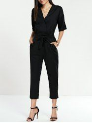 SHARE & Get it FREE | Chic Tie Waist V-Neck Ninth Jumpsuit For WomenFor…