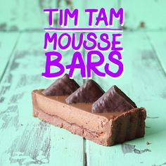 Tam Mousse Bars We turn Australia's classic chocolate biscuit into a mousse bar.We turn Australia's classic chocolate biscuit into a mousse bar. Baking Recipes, Dessert Recipes, Delicious Desserts, Yummy Food, Food Vids, Tasty Videos, Diy Food, I Love Food, No Cook Meals
