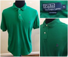 Mens Ralph Lauren Solid Green Purple Pony Polo Shirt Size Medium Cotton #RalphLauren #PoloRugby