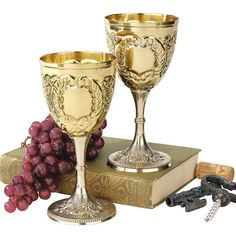 Set of 2 8oz Embossed Brass Renaissance Medieval Knights Wine Chalice Goblets | eBay