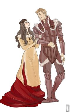 """saralcnce: """" when they go to dinner parties, they make sure to dress so well all their friends are jealous of them. I was super lucky to score a commission slot from the absolutely wonderful @firnelle and just look at thedas' best dressed royals! I..."""
