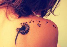 Dandelion seeds tattoo back, shoulder