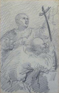 Johannot Tony - Pencil - Scène religieuse - 17,2x10,9cm
