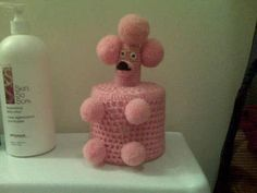 Knitted poodle toilet  roll cover