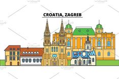 Croatia, Zagreb. City skyline, architecture, buildings, streets, silhouette, landscape, panorama, landmarks. Editable strokes. Flat design line vector illustration concept. Isolated icons Urban Icon, Flat Design, Zentangle, Buildings, Skyline, Poster Templates, Concept, Silhouette, Icons