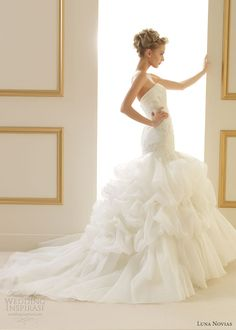 Luna Novias 2013 Wedding Gown: Tilo strapless gown with drop waist bodice and ruffle skirt. Stunning!!!♥